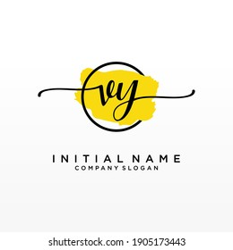 Initial VY beauty monogram and elegant logo design, handwriting logo of initial signature, wedding, fashion, floral and botanical with creative template.