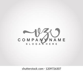 Initial VZ handwriting logo vector