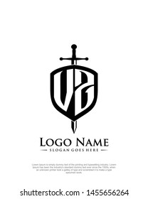 initial VZ letter with shield style logo template vector