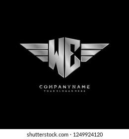 Initial W E wing logo template vector