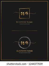 Initial W A handwriting logo vector. Letter handwritten logo template.