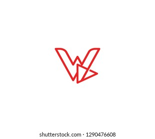 Initial W Letter Linear Red Line with Play Media Logo Design