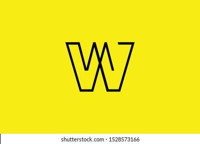 Initial W WW WM MW modern monogram and elegant logo design, Professional Letters Vector Icon Logo on black background.