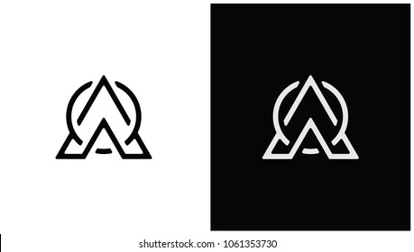 Initial WAO with Triangle Logo Design Template.
