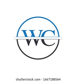 Initial WC Letter Linked Logo. Creative Letter WC Logo Design Vector Template
