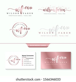 initial wf feminine logo collections template  vector