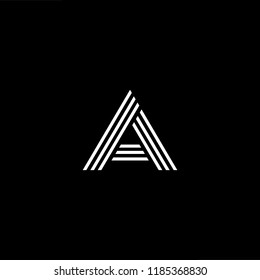 Initial White letter A AA AAA Logo Design with black Background Vector Illustration Template.