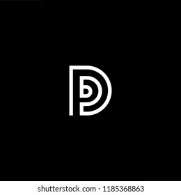 Initial White letter D DD DDD DP PD Logo Design with black Background Vector Illustration Template.