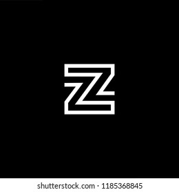Initial White letter Z ZZ ZZZ Logo Design with black Background Vector Illustration Template.