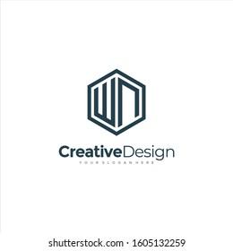 Initial WN letter WN, minimalist line art hexagon logo, Black color minimalist line art Polygon logo