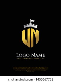 initial WN letter with shield style logo template vector
