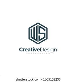 Initial WS letter WS, minimalist line art hexagon logo, Black color minimalist line art Polygon logo