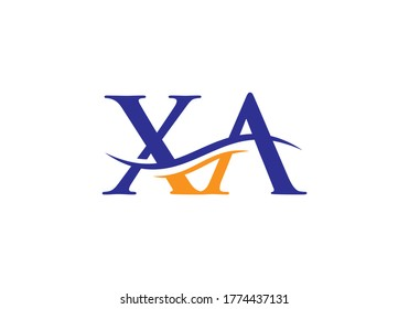 Initial XA Letter Logo With Modern Wave Typography. Creative XA Letter Modern Business Logo Vector template