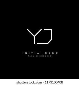 Initial Y J minimalist modern logo identity vector