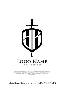 initial YK letter with shield style logo template vector