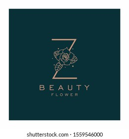 Initial Z Flower Beauty Letter Logo Design Vector