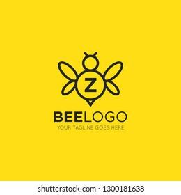 initial z letter bee logo vector illustration design template