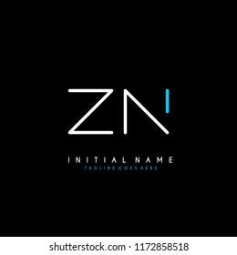Initial Z N minimalist modern logo identity vector