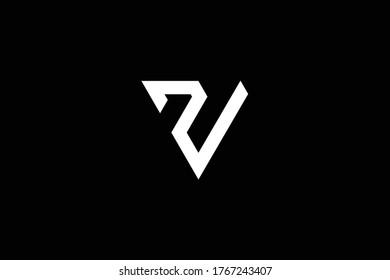 Initial Z ZV VZ modern monogram and elegant logo design, Professional Letters Vector Icon Logo on black background.