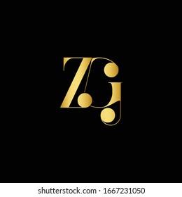 Initial ZG letter luxury beauty flourishes ornament monogram logo