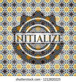 Initialize arabic badge background. Arabesque decoration.