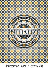 Initialize arabic style badge. Arabesque decoration.