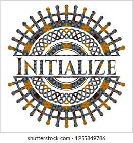 Initialize arabic style emblem. Arabesque decoration.