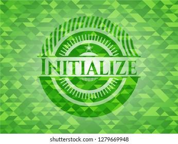 Initialize green emblem. Mosaic background