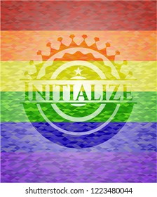 Initialize on mosaic background with the colors of the LGBT flag