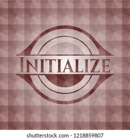 Initialize red emblem or badge with abstract geometric pattern background. Seamless.
