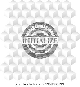Initialize retro style grey emblem with geometric cube white background
