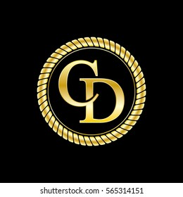 initials c and d logo luxurious golden letters with gold rope