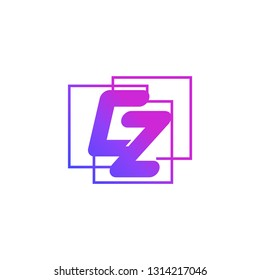 The initials C and Z colored gradient combination of blue and pink. CZ vector design logo