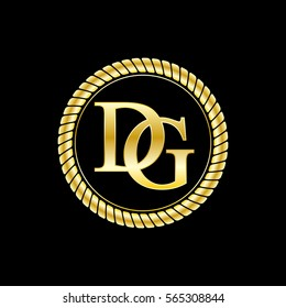 initials d and g logo luxurious golden letters with gold rope