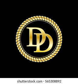 initials d and d logo luxurious golden letters with gold rope