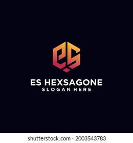 Initials E,ES hexagon logo monogram logo ES hexagon logo design concept vector, hexagon logo design template with luxurious gradient color