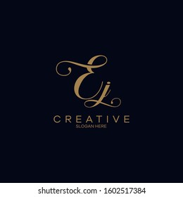 Initials Ej Logo Creative Template Sign Vector