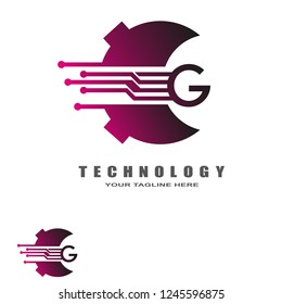 initials G letter , technology logo templates, vector logos for business corporate , element , circuit illustration