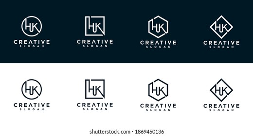 Initials hk logo design template