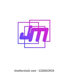 The initials J  and N colored gradient combination of blue and pink. JN vector design logo