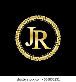initials j and r logo luxurious golden letters with gold rope