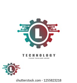 initials L letter , Gear logo template , tech vector logos for business , element , illustration