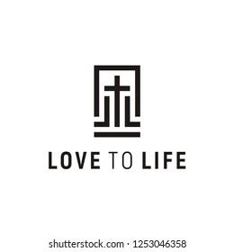 Initials L LL Love Life, Jesus Christian Cross Church Catholic Logo design