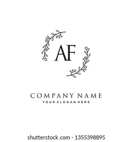 initials letter AF handwriting logo vector template