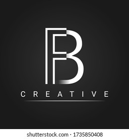 initials letter B, FB. Logo design template, simple and clean design with a black background