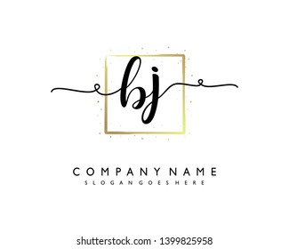 initials letter BJ handwriting logo vector template