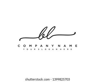 initials letter BL handwriting logo vector template