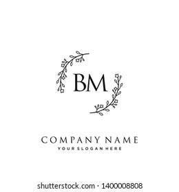 initials letter BM handwriting logo vector template