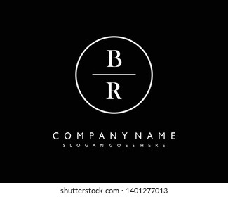 initials letter BR handwriting logo vector template