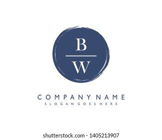 initials letter BW handwriting logo vector template